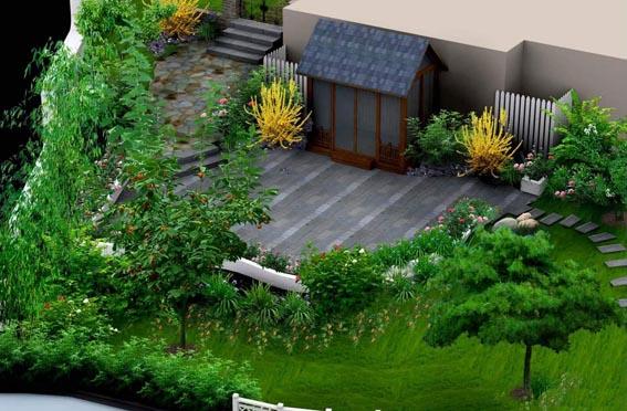园林池塘手绘效果图